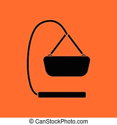 Baby hanged cradle ico. Orange background with black. Vector...