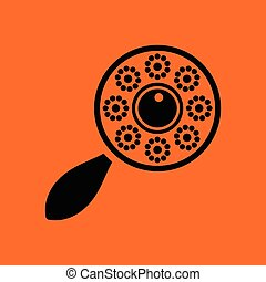 Beanbag ico. Orange background with black. Vector...