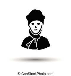 Poet icon. White background with shadow design. Vector...