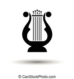Lyre icon. White background with shadow design. Vector...