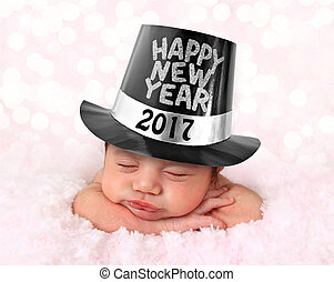 Happy New Year baby - Newborn baby girl wearing a Happy New...
