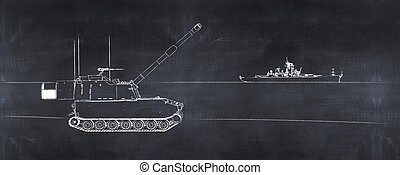 3D illustration of tank and warship