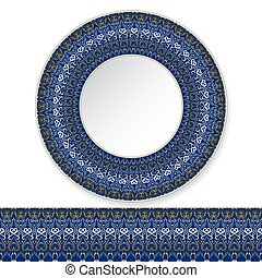 Blue plate with gold pattern