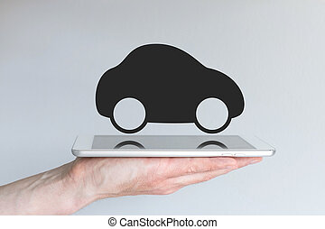 Digital transportation and mobility with car icon on tablet