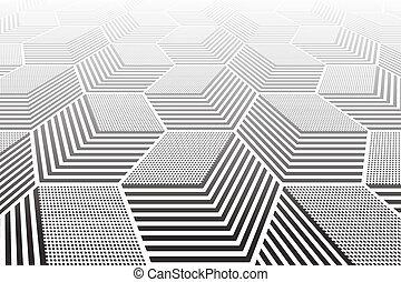 Abstract geometric background. 3D illusion.