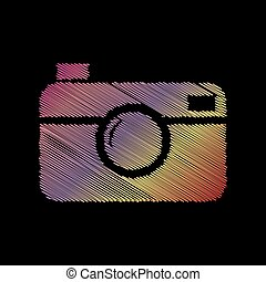 Digital photo camera sign. Coloful chalk effect on black...
