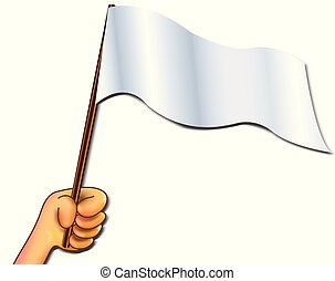 white flag - Illustration hand holding empty flag for write...