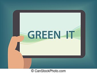 Green IT concept with hand holding smart phone