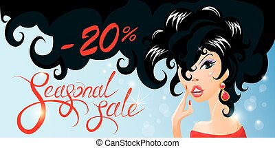 Discount horizontal banner with Smiling Happy brunette girl....