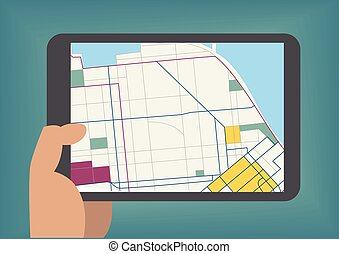 Digital mobile maps concept as vector illustration with hand holding tablet
