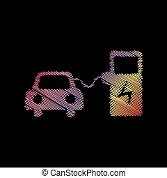 Electric car battery charging sign. Coloful chalk effect on black backgound.