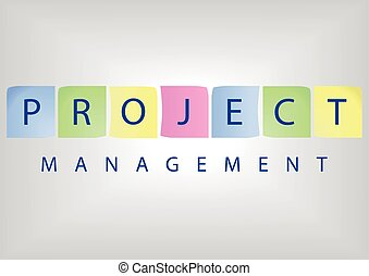 Project management title with colorful post-it notes