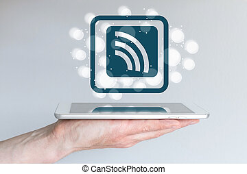 Mobile computing and wireless connectivity concept for smart phones and tablets.