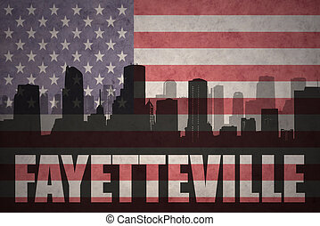 abstract silhouette of the city with text Fayetteville at...