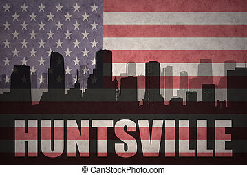 abstract silhouette of the city with text Huntsville at the...