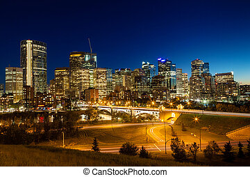 Calgary Downtown Skyline Just After Sunset - Calgary...