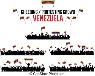 Cheering or Protesting Crowd Venezuela - A set of 5...