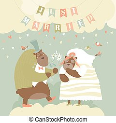 Two Lovely Bears. Just Married.
