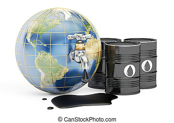 Earth globe squeezing oil through a tap, 3D rendering...