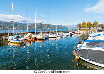 Harbor of small town Ispra on the lake Maggiore, Italy