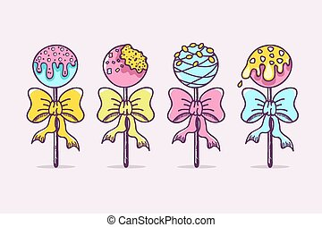 Cake Pops - Colorful Hand Drawn Cake Pops.
