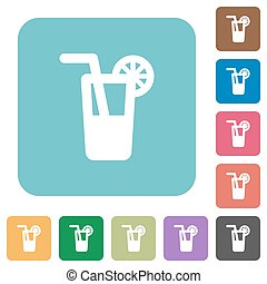 Longdrink white flat icons on color rounded square...