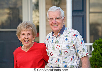Elderly Couple Smiling - Elderly Couple With Big Smiles