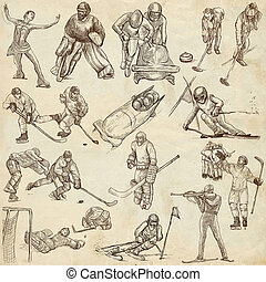 Winter Sports - An hand drawn collection - WINTER SPORTS....