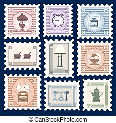 Retro postage stamps on the theme of homes Things