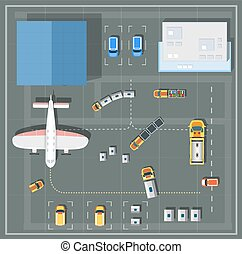 Overhead point of view airport with all the buildings,...