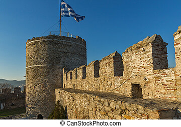 Tower of the Byzantine fortress in Kavala, East Macedonia...