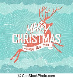 "Merry Christmas Vintage vector Illustration. Deer silhouette and ""Merry Christmas"" lettering. Rays, clouds, sky. Text on white ribbon. On old paper texture. Grunge layers easily edited."