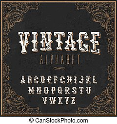 Vintage Western alphabet. Decorative vintage alphabet. With Art frame border. On the blackboard background. Vintage letters. For vintage labels and any type retro designs