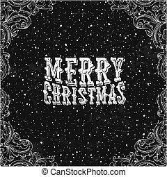 Vintage Christmas Card. Black and white