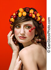 Fruit beauty woman portrait - vegetarian ideal - Portrait of...