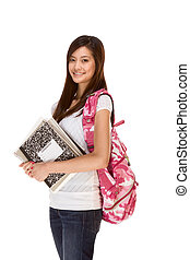 Asian student in jeans with backpack, notebooks - Friendly...