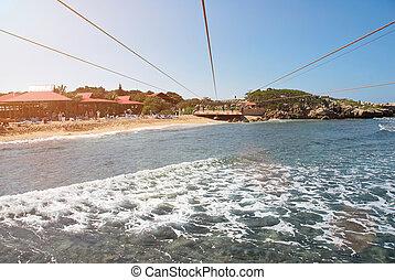 zip line adventure in caribbean under sea water