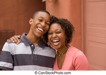 African - american, padre solo, familia