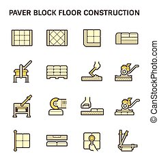 Paver block work icon - Paver block floor construction...