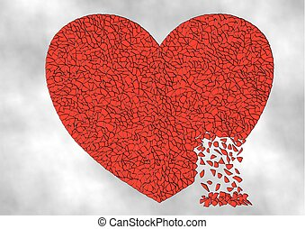 A Shattered Heart - Illustration of a red heart shattered...