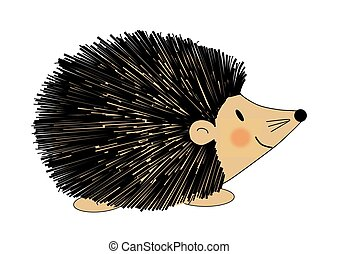 Hedgehogs - Illustration of a fuzzy black and brown hedgehog