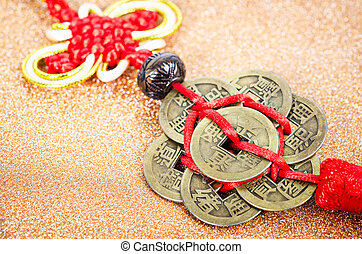 chinese coins of luck. - Close up chinese coins of luck on...
