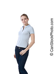 Caucasian teenager in jeans and blue polo t-shirt -...