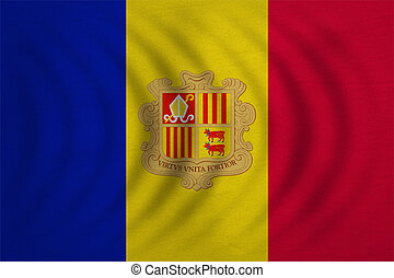 Flag of Andorra wavy, real detailed fabric texture