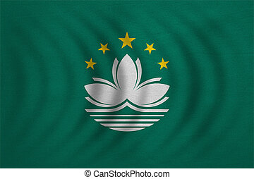 Flag of Macau wavy, real detailed fabric texture - Macanese...