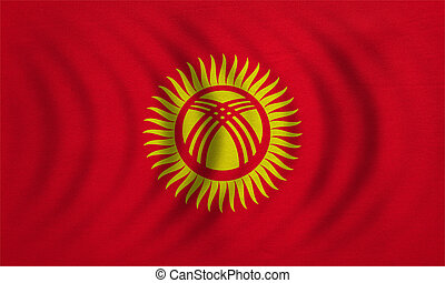 Flag of Kyrgyzstan wavy, detailed fabric texture -...