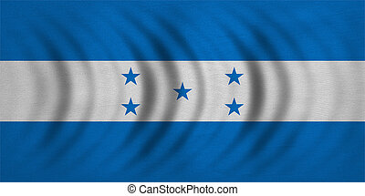 Flag of Honduras wavy real detailed fabric texture -...