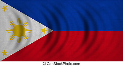 Flag of the Philippines wavy, real fabric texture -...