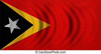Flag of East Timor wavy, detailed fabric texture - East...