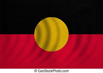 Australian Aboriginal flag wavy, fabric texture